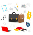 suitcase stationery books notepad icons vector image