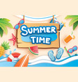 summer time with paper cut symbol icon for vector image