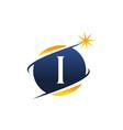 swoosh logo letter i vector image vector image