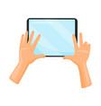 tablet computer in human hands digital device vector image vector image