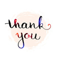 Thank you hand lettering elegant card vector image