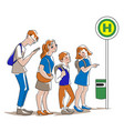 waiting for bus vector image vector image