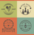 wine shop vintage round colored emblems vector image vector image