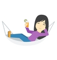 Woman lying in a hammock vector image