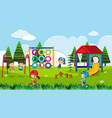 playground scene with happy children at daytime vector image
