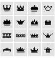 black crown icon set vector image