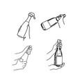 set hand holding champagne bottle vector image