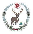 cartoon style deer in forestry wreath vector image