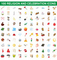 100 religion and celebration icons set vector image vector image