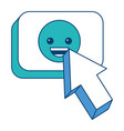 arrow cursor with smile emoticon button icon vector image vector image