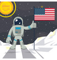 astronaut in the moon nailing usa flag vector image vector image