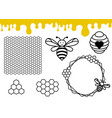 bee hive and honeycomb pattern honey drips border vector image vector image