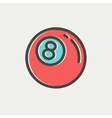 Billiard ball thin line icon vector image