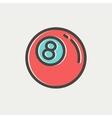 Billiard ball thin line icon vector image vector image