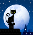 Black cat and moon vector | Price: 1 Credit (USD $1)