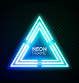 blue neon light triangle gradient techno frame vector image vector image