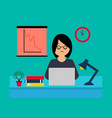 business woman working at office with laptop vector image