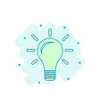 cartoon colored light bulb icon in comic style vector image
