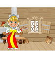 cartoon girl in Russian national dress in a house vector image vector image