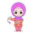 cartoon muslim girl holding a brush and color vector image vector image
