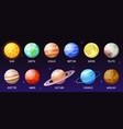 cartoon solar system space planets moon sun vector image vector image