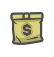 cash bag sack and money icon cartoon vector image