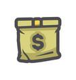 cash bag sack and money icon cartoon vector image