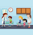 children and doctors in clinic vector image