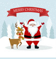 christmas card with santa and reindeer vector image