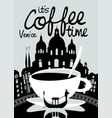 coffee banner on background of venice landscape vector image vector image
