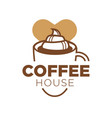 coffee house logotype with big cup of delicious vector image vector image