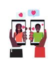 couple in love hands holding smartphones happy vector image