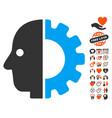 cyborg head icon with dating bonus vector image