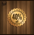 discount badge on wooden background vector image vector image