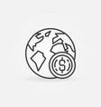 earth with coin icon in thin line style vector image vector image