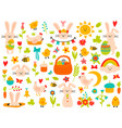 easter spring elements eggs rabbit flowers and vector image