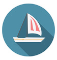 Flat design modern of sailing boat icon with long vector image vector image