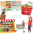 flat shopping in supermarket template vector image