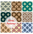 floral ornament damask seamless patterns vector image vector image