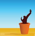 flowerpot with man vector image vector image