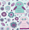 Funny hand drawn owls leaves and flowers Purple vector image