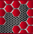 Geometric pattern of hexagons with red metal vector image