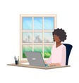 girl working at laptop vector image vector image