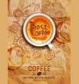 hand drawn doodles on a coffee theme cups turka vector image vector image