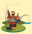 happy fisherman stands and holds in hand fishing vector image