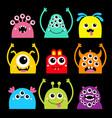 happy halloween monster face head icon set cute vector image