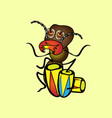 isolated cartoon a hungry termite who plays the vector image vector image