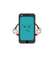kawaii smartphone angry character cartoon vector image