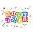 kids zone blocks color geometric elements around vector image