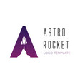 logo template letter a with rocket launch symbol vector image vector image
